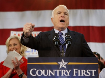"""John McCain on the stump in the 2008 presidential campaign; his slogan of """"Country First"""" said it all"""