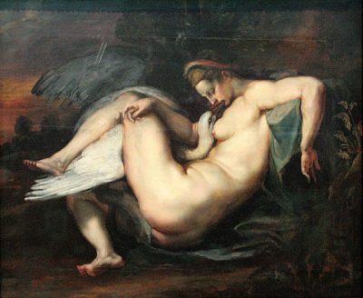 Zeus disguised as swan rapes Leda