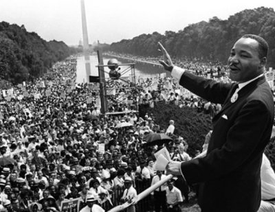 """King addresses the crowd with his """"I Have a Dream"""" speech at the Mall in Washington during the March for Jobs and Freedom"""