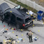 Farook's black SUV following the police shoot-out.