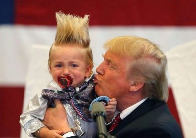 Trump kisses mini-me