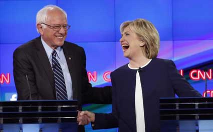 A cordial moment early in the Democratic debates