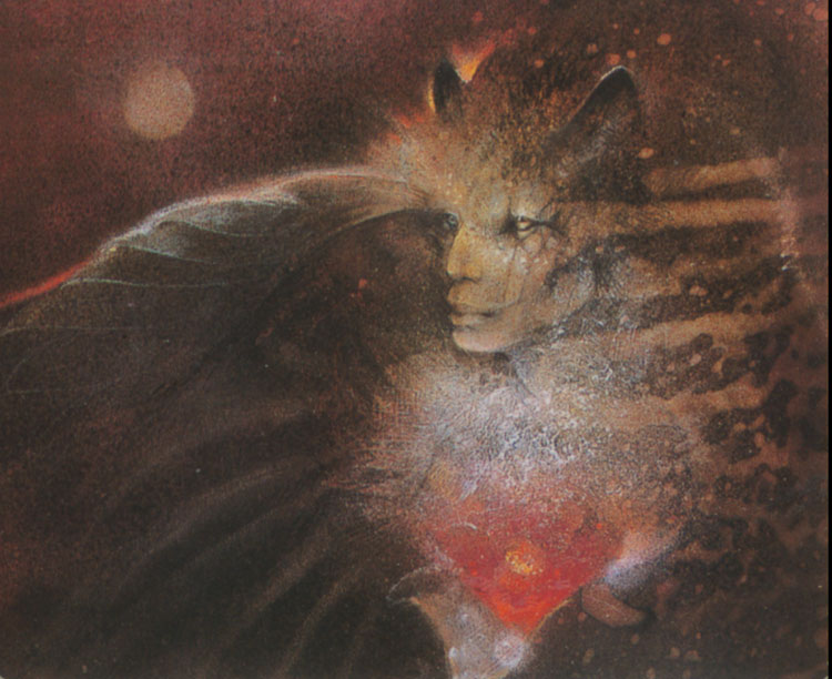 The Sphinx, from Goddesses Knowledge Cards, paintings by Susan Seddon Boulet and text by Michael Babcock, published by Pomegranate