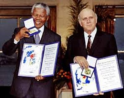 Mandela and de Klerk receive the Nobel Peace Prize