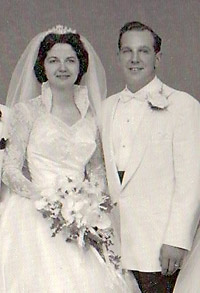 Lorraine and Marshall at their wedding, 1955