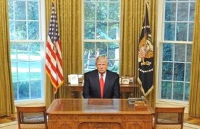 Trump in Oval Office, Gold Curtains