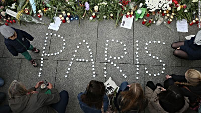 Parisians mourn Paris terror attacks.