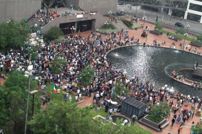 Peaceful protest of the verdict in Minneapolis, one of many protests across the country