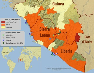 Ebola infection and treatment sites in West Africa, October 2014 (Source: WHO)