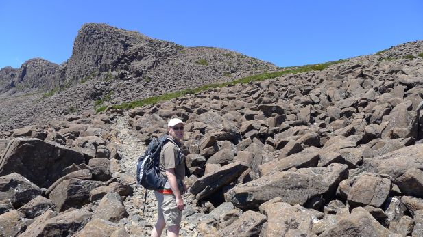 Track across the boulder field