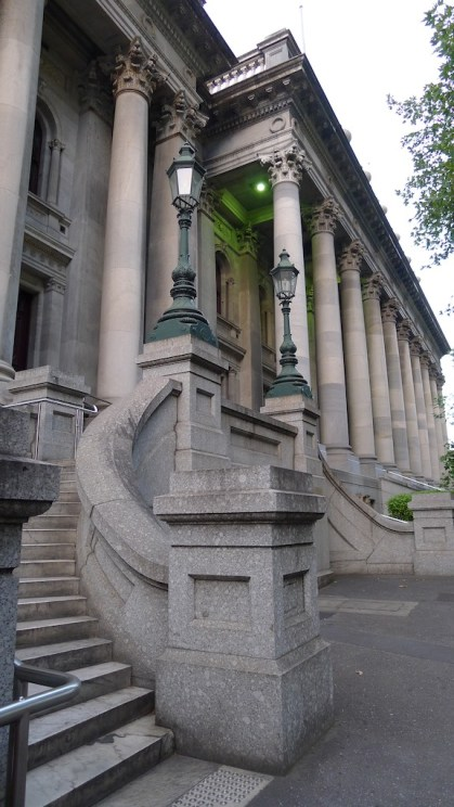 Curved steps to a different door into the Parliament House building