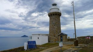 Wilsons Promontory Lighthouse aka South East Point Lighthouse & Bureau of Meteorology (BoM) weather station, Rodondo Is (TAS) in the background