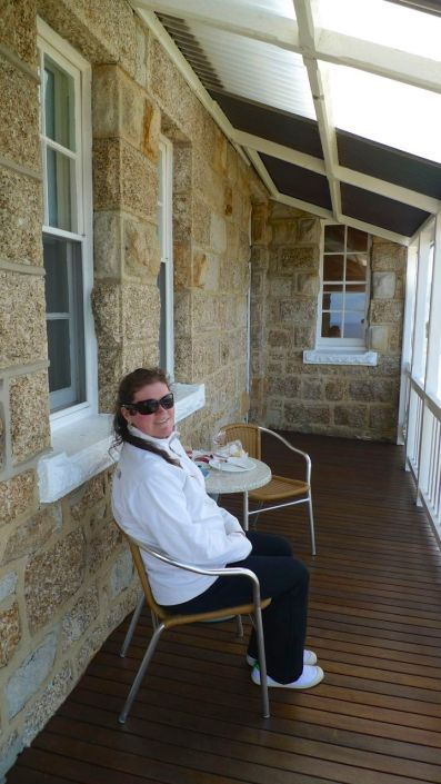 Enjoying wine and cheese on the veranda