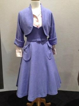 Joy McDonald - Cornflower blue wool 2 piece dress suit with belt, pale pink stripe with ballarina blouse & white Tulle petticoat to be worn under Joy's dress