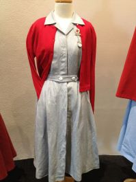 Mattie - Red Nurses cardigan & Blue nurses Dress with belt