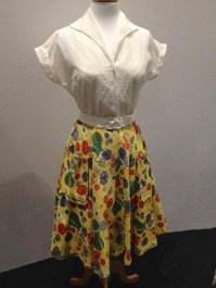 Widgey - Cotton voile & tulle petticoat, lemon nylon slip, yellow floral cotton [s]kirt, white cotton lace blouse & white vinyl belt