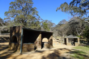 Sheltered picnic tables at Govett's Leap picnic area