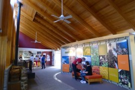 Inside the Visitor Centre - they didn't need the fans or fireplace the day we visited
