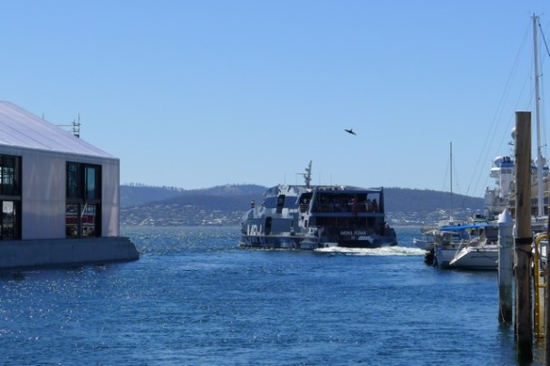 MR-1 setting off up the blue Derwent River to MONA on a fine day