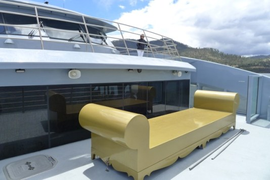The 'gold' couch on the front deck for Posh Pit-ers. Great when it's not wet.