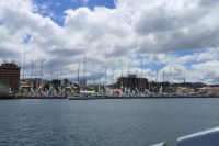 The yachts from the Sydney to Hobart crowd into Sullivans Cove