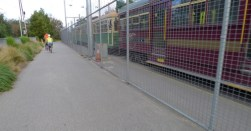 Passing one of Melbourne's Restaurant Trams and an old W Class tram on the path to Port Melbourne