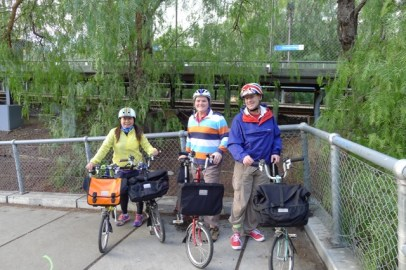 Regrouping means a chance for a photo at Flemington Bridge Station