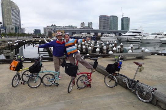 Stephen and I with Bromptons and Docklands