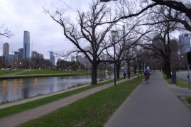Cycling along the Yarra River on an overcast winter's late afternoon