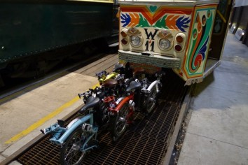 Folded in formation, our Brompton before the W11 'Karatchi' Tram