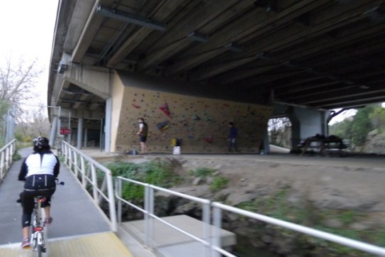 Practice walls for rock climbers underneath CityLink was something I didn't expect to see on the ride