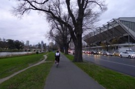 So nice not to have to contend with traffic on a bike - unlike those people heading out of the city opposite