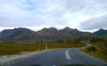 The road curves its way around the base of the Sentinel Range and makes for a fantastic drive