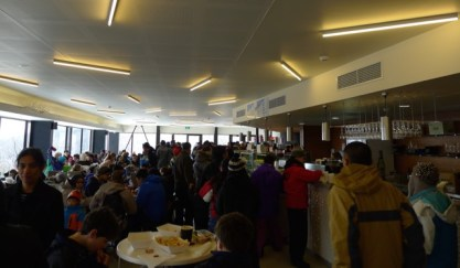 Queue here for food at sporting venue prices. Good luck finding a table