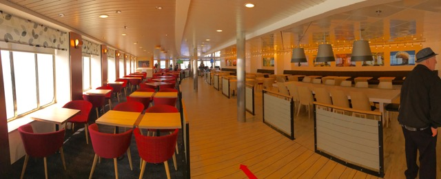 Dining area extends all the way down to the stern of Deck 7