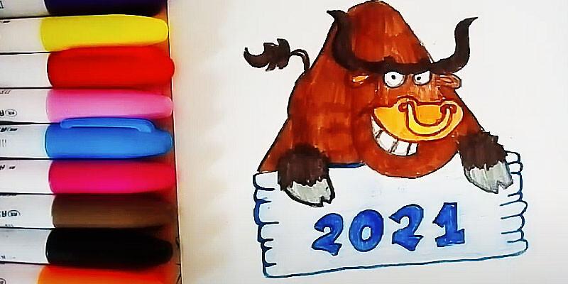 Images pour la nouvelle année 2021 pour dessiner - léger et beau