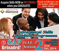 REGISTER FOR 2 WEEKS FREE DIAMOND BANK SUPPORTED EXTRAMURAL SKILLS ACQUISITION PROGRAMME @ OAU.
