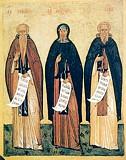 Преподобные Евфимий Великий,  Антоний Великий, и Савва Освященный