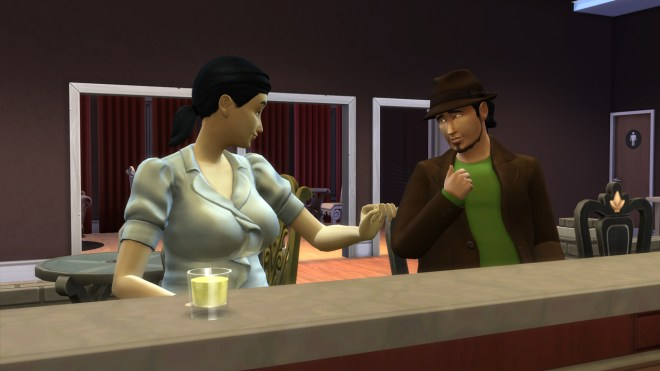Mitchell Kalani introduces himself to Amie Irvin at Patchy's bar in Newcrest.