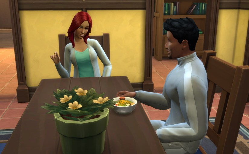 Katrina Caliente flirts with her younger boyfriend Don Lothario at the dining table.