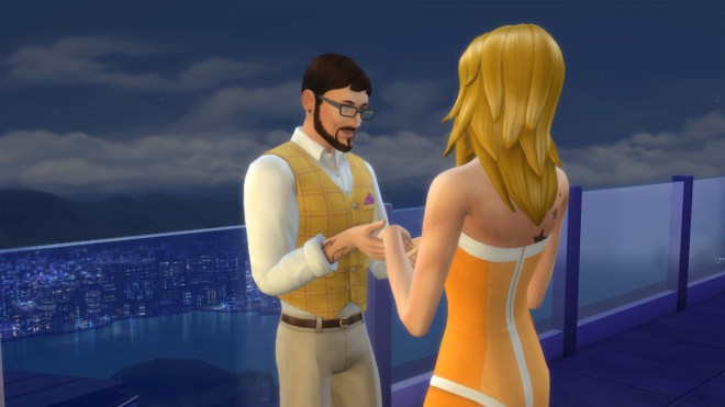 Andre DaSilva and Babs L'Amour go on a date at Stargazer Lounge in San Myshuno.