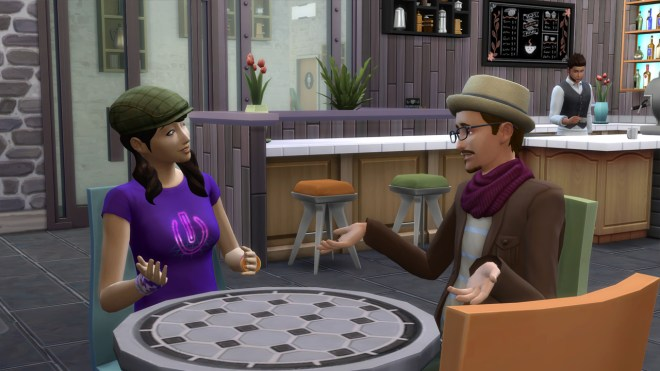 Liberty Lee chats with Gunther Munch at South Square Coffee in Windenburg.