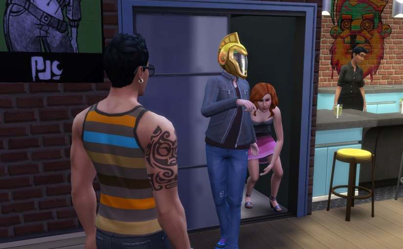 Don Lothario watches as Nina Caliente stumbles out of closet with DJ Akito Ishikawa.