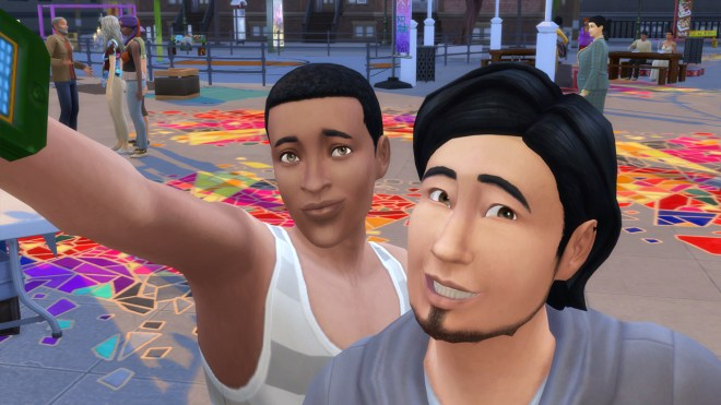 Ollie Purdue and Mitchell Kalani take a selfie at the Flea Market in San Myshuno.