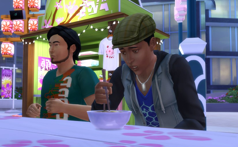 Ollie Purdue tries to use chopsticks at the Romance Festival.