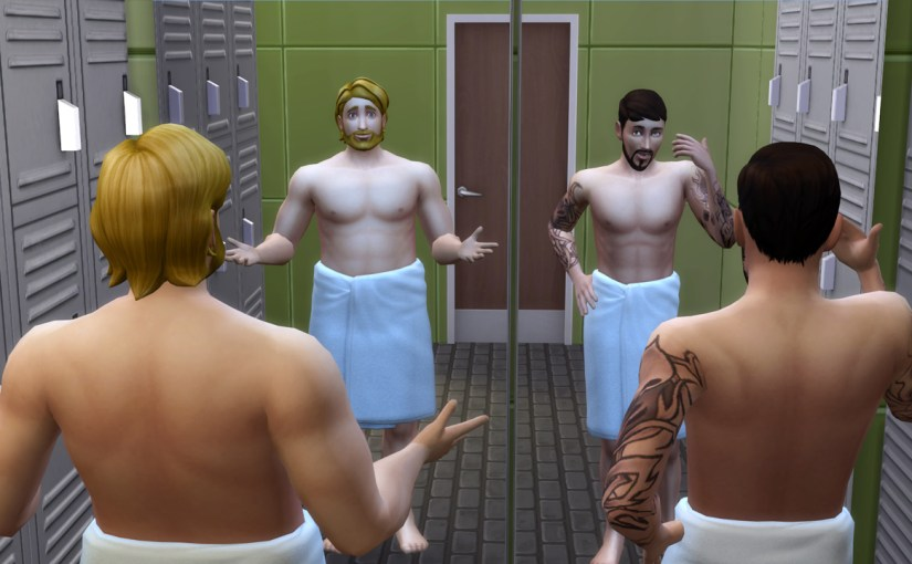Steve Fogel and Andre DaSilva admire themselves in the locker room mirror.