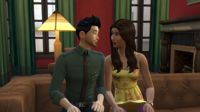 Uriah Keating and Zoe Patel snuggling on the couch at The Keatings' house in Oasis Springs.