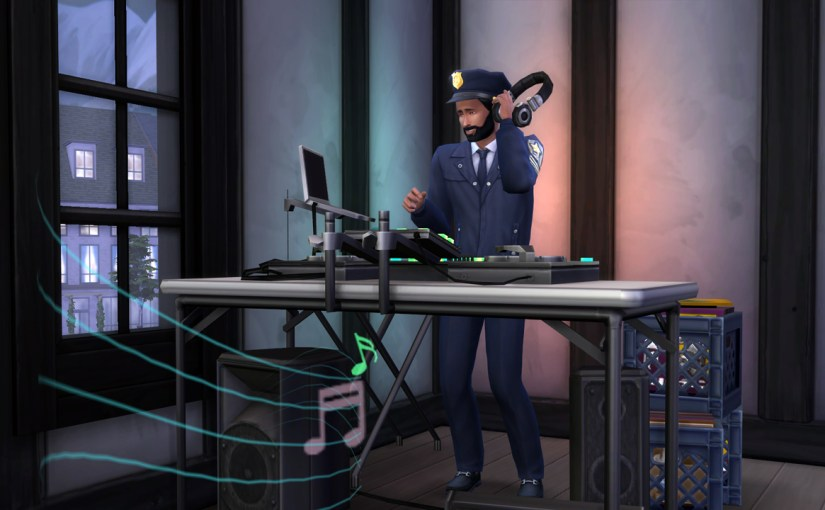 Karim uses his DJ booth after a day of work at the Police Station.