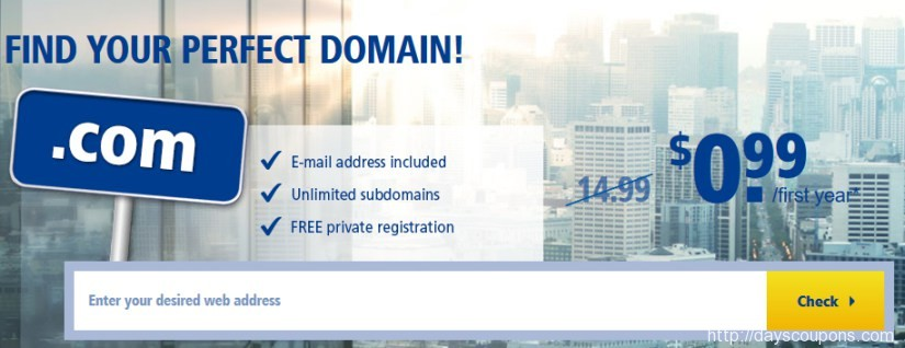 .COM domain name just 99 cent at 1and1
