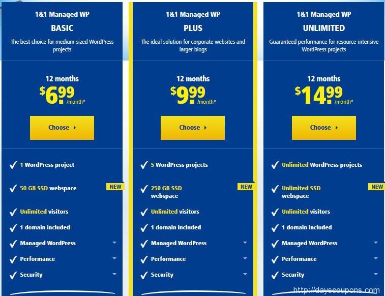 1&1 WordPress Hosting just 99 cent + 01 domain free
